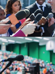 A spokesperson in media training and a microphone in front of an audience