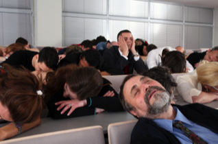 People are sleeping because of boring presentation skills.