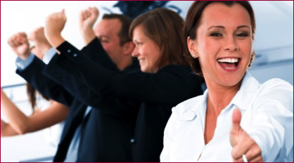 Woman showing thumbs up to a successful presentation